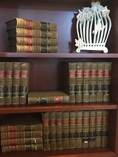 Image of old books on a shelf.