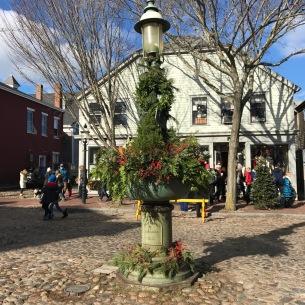 Nantucket Lightpost with Christmas Decor