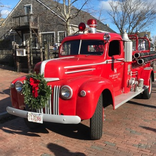 Vintage Nantucket Fire Engine at Christmas
