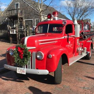 Vintage Nantucket Fire Engine at Christmas