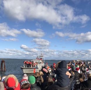 Crowds Waiting For Santa at the Nantucket Wharf