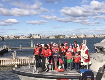 Santa on a Coast Guard Boat