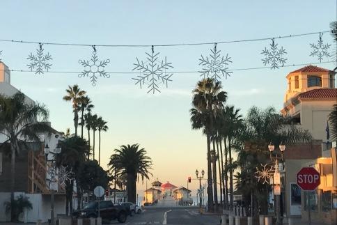 Image of Huntington Beach Main Street with Snowflake Lights