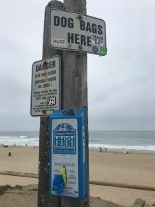 Image of dog bags at Dog Beach.