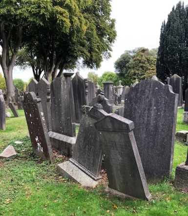 Image of crooked tombstones at Glasnevin Cemetery