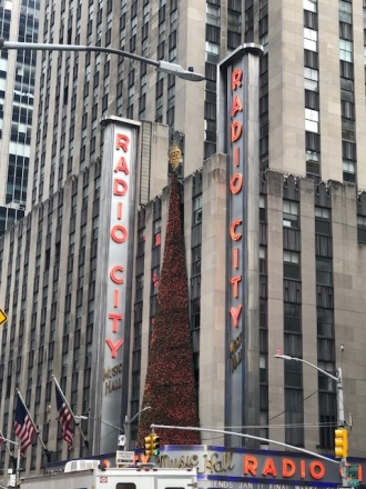 Image of the outside of Radio City Music Hall signs.