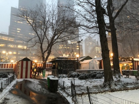 Image of holiday market stalls at Columbus Circle in New York