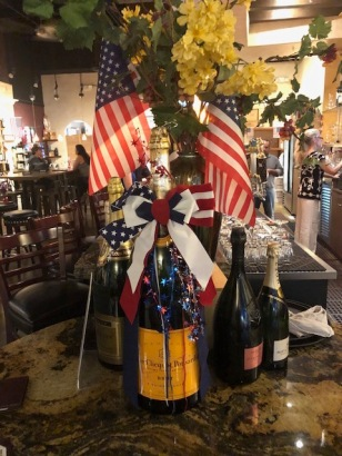 Image of a Veuve Cliquot Bottle Decorated for the 4th of July