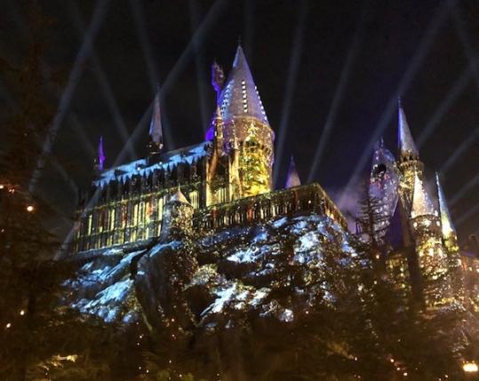 Image of light show on Hogwarts Castle