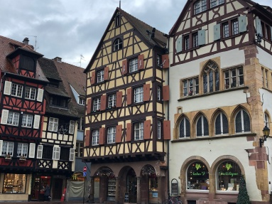 Image of half-timbered buildings in the Alsace Region of France.