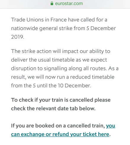 Image of text of strike warning from Eurostar